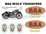 BSA W35-9 Transfers Decals Set DBSA186